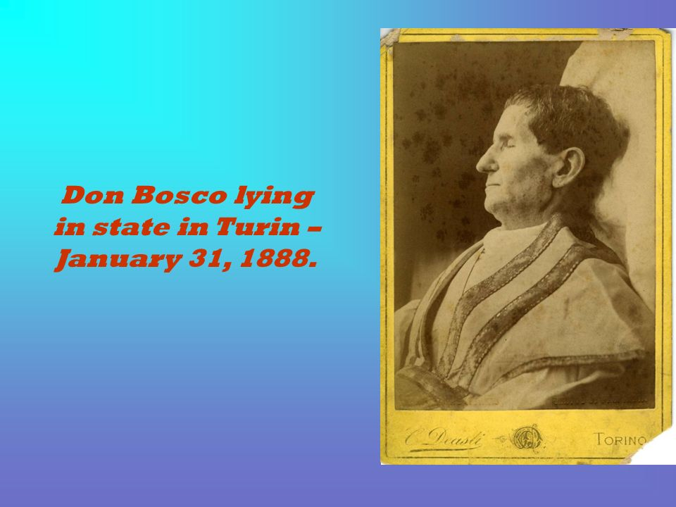 Don Bosco lying in state in Turin – January 31, 1888.