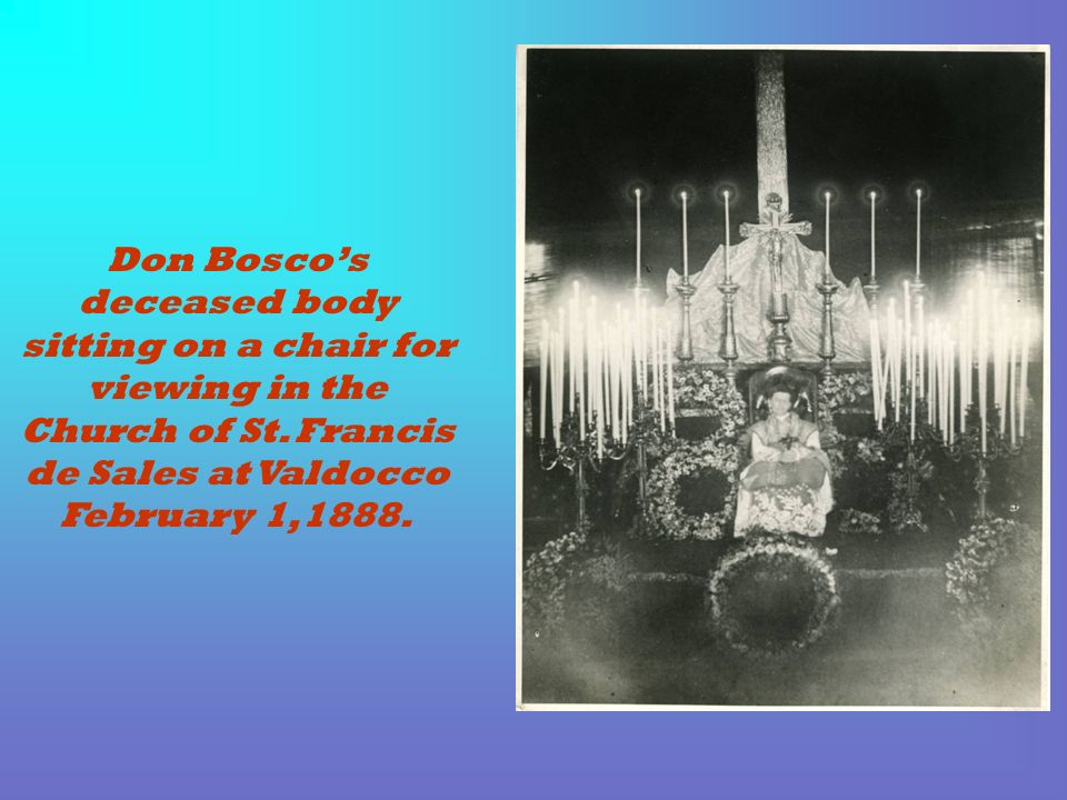 Don Bosco's deceased body sitting on a chair for viewing in the Church of St. Francis de Sales at Valdocco