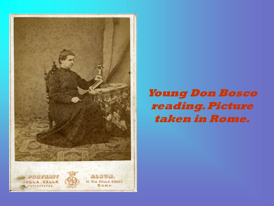 Young Don Bosco reading. Picture taken in Rome.