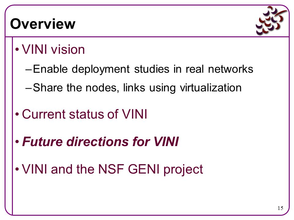Overview VINI vision Current status of VINI Future directions for VINI
