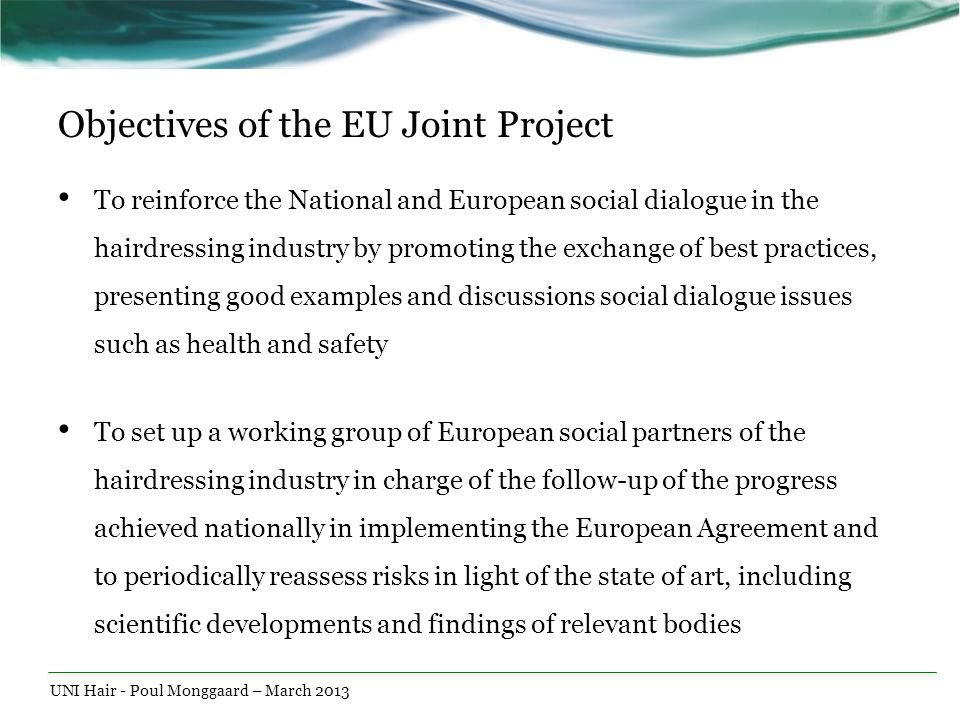 Objectives of the EU Joint Project