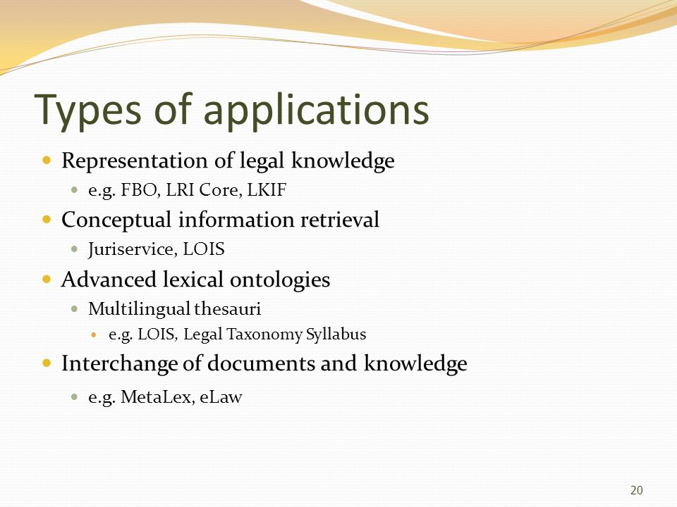Types of applications Representation of legal knowledge