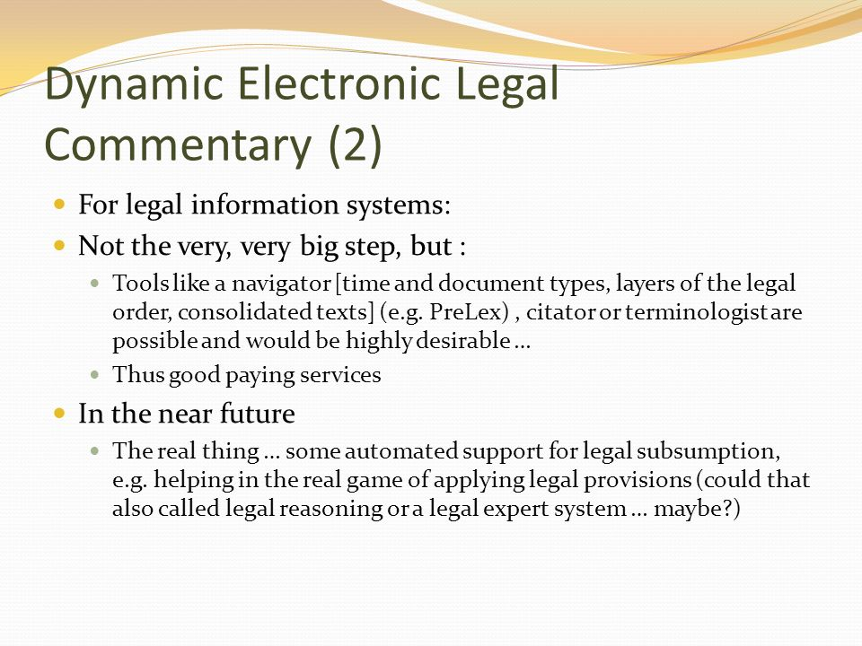 Dynamic Electronic Legal Commentary (2)