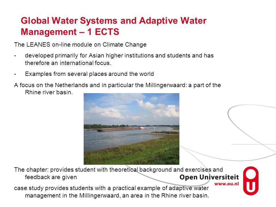 Global Water Systems and Adaptive Water Management – 1 ECTS