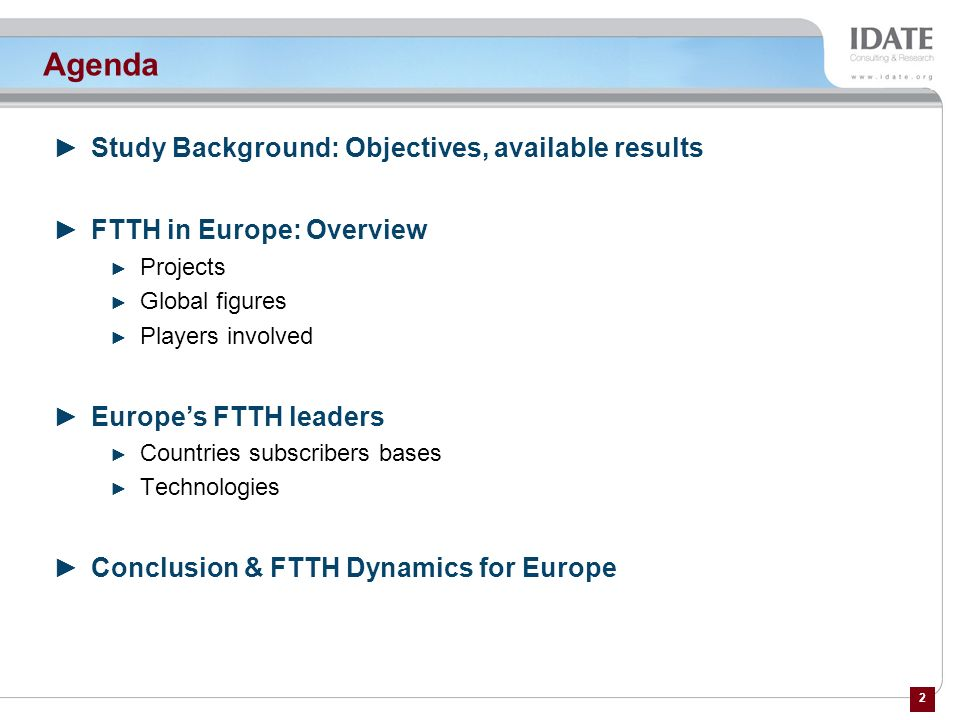 Agenda Study Background: Objectives, available results