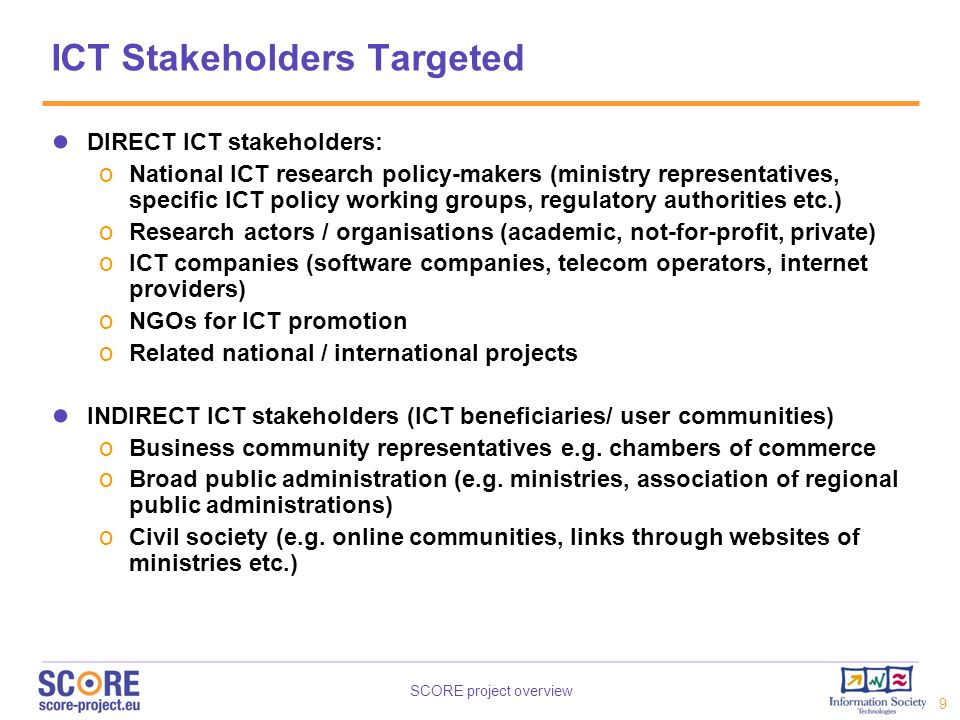 ICT Stakeholders Targeted