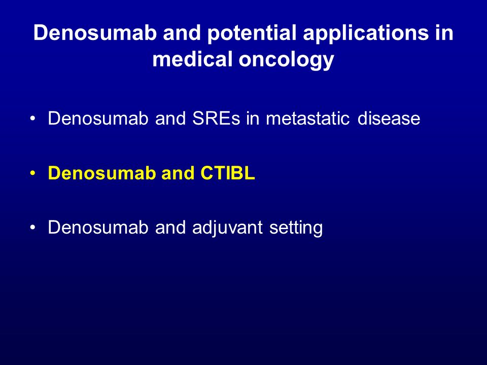 Denosumab and potential applications in medical oncology