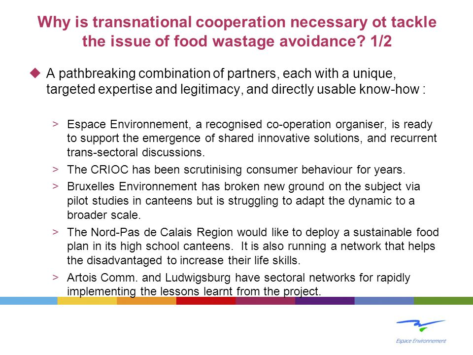 Why is transnational cooperation necessary ot tackle the issue of food wastage avoidance 1/2