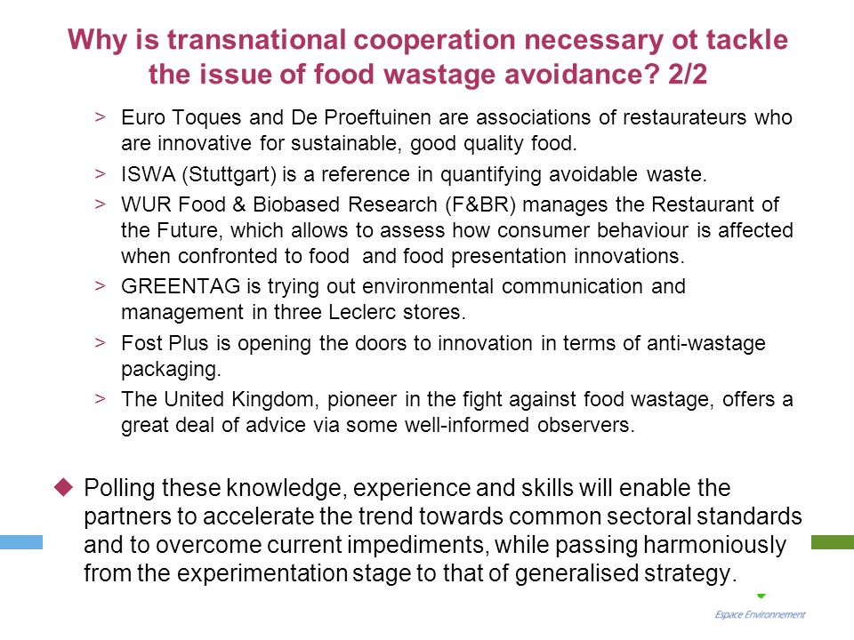 Why is transnational cooperation necessary ot tackle the issue of food wastage avoidance 2/2