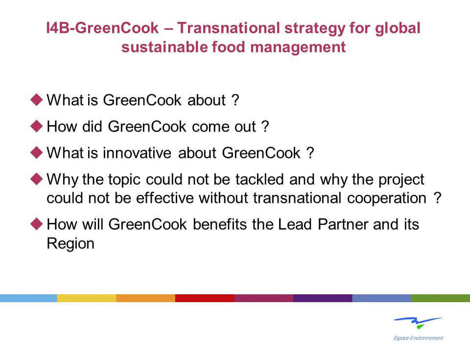 I4B-GreenCook – Transnational strategy for global sustainable food management