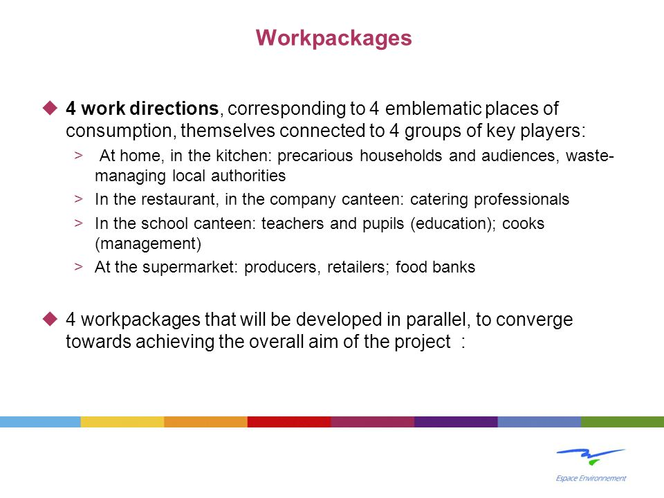 Workpackages 4 work directions, corresponding to 4 emblematic places of consumption, themselves connected to 4 groups of key players: