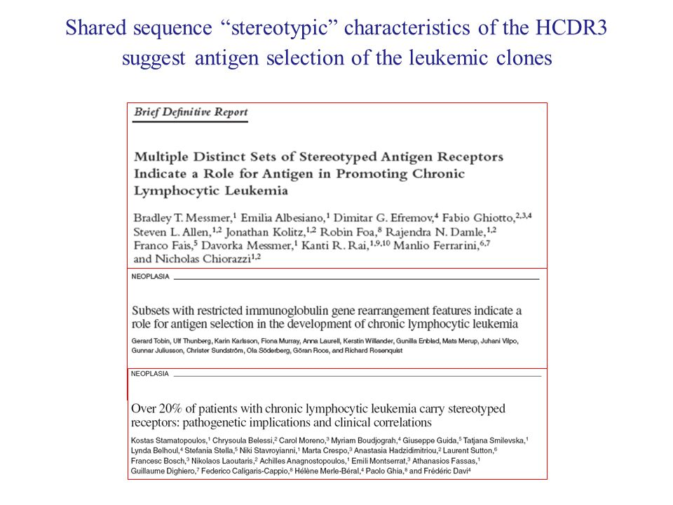 Shared sequence stereotypic characteristics of the HCDR3 suggest antigen selection of the leukemic clones