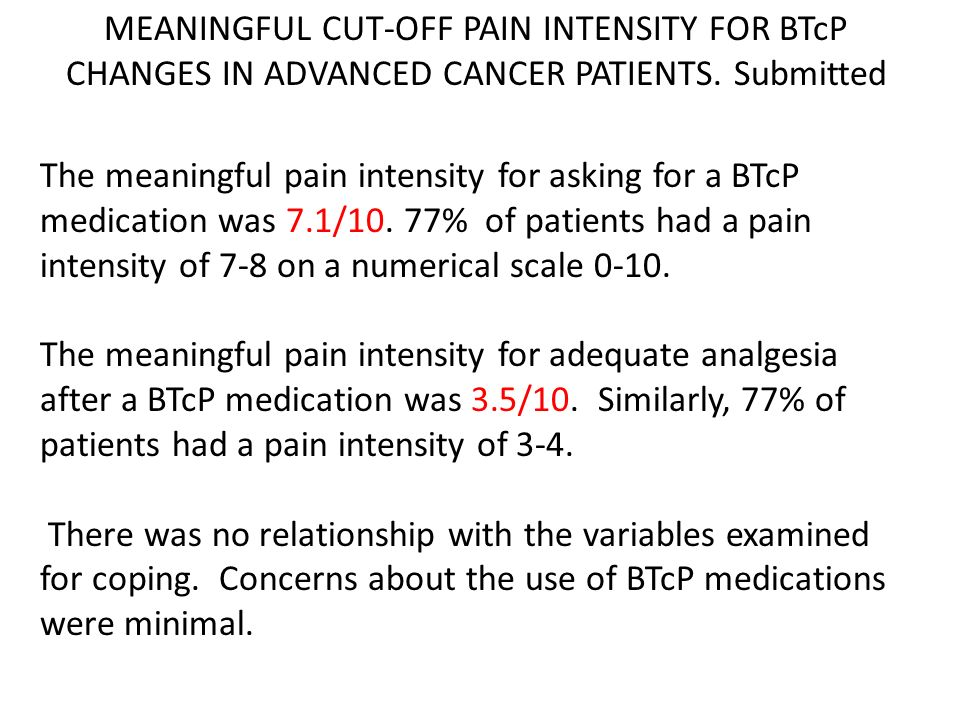 MEANINGFUL CUT-OFF PAIN INTENSITY FOR BTcP CHANGES IN ADVANCED CANCER PATIENTS. Submitted
