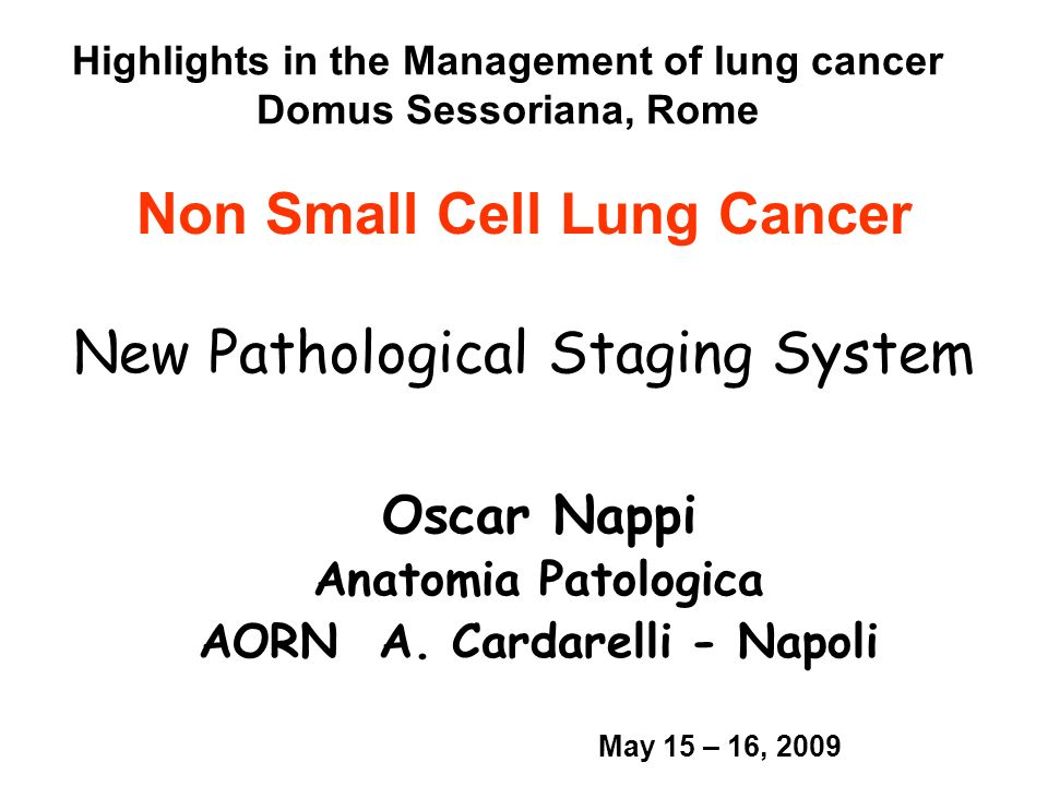 Non Small Cell Lung Cancer New Pathological Staging System