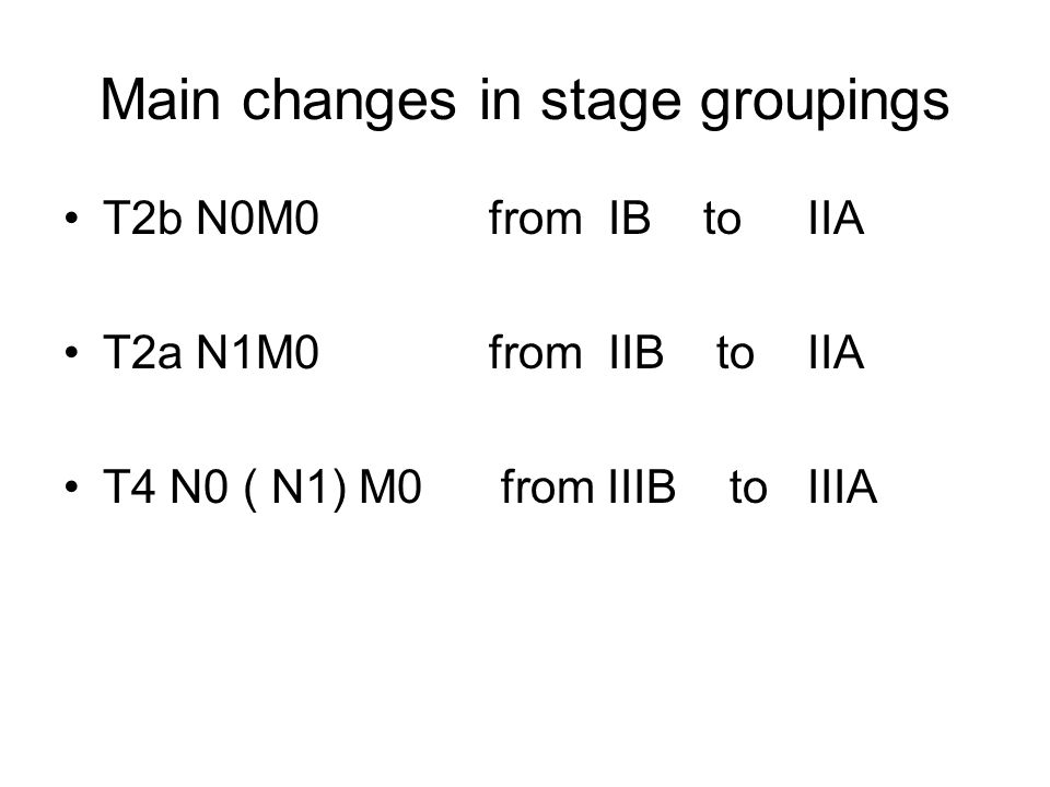 Main changes in stage groupings