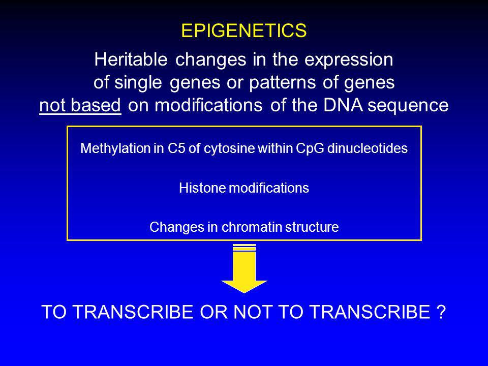 Heritable changes in the expression