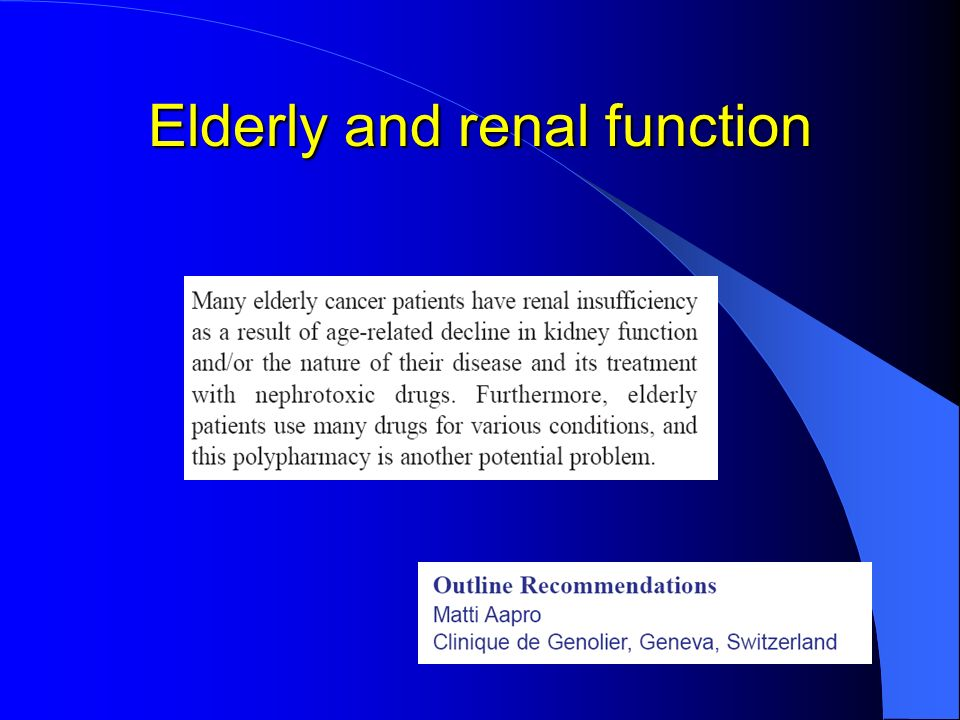 Elderly and renal function