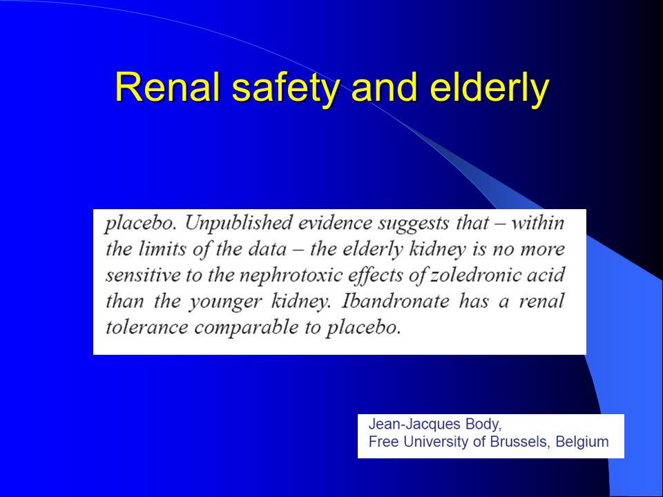 Renal safety and elderly
