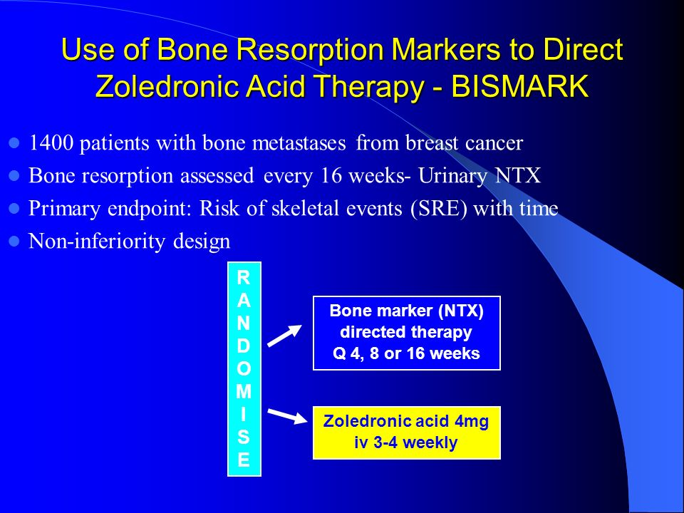 Bone marker (NTX) directed therapy Zoledronic acid 4mg iv 3-4 weekly