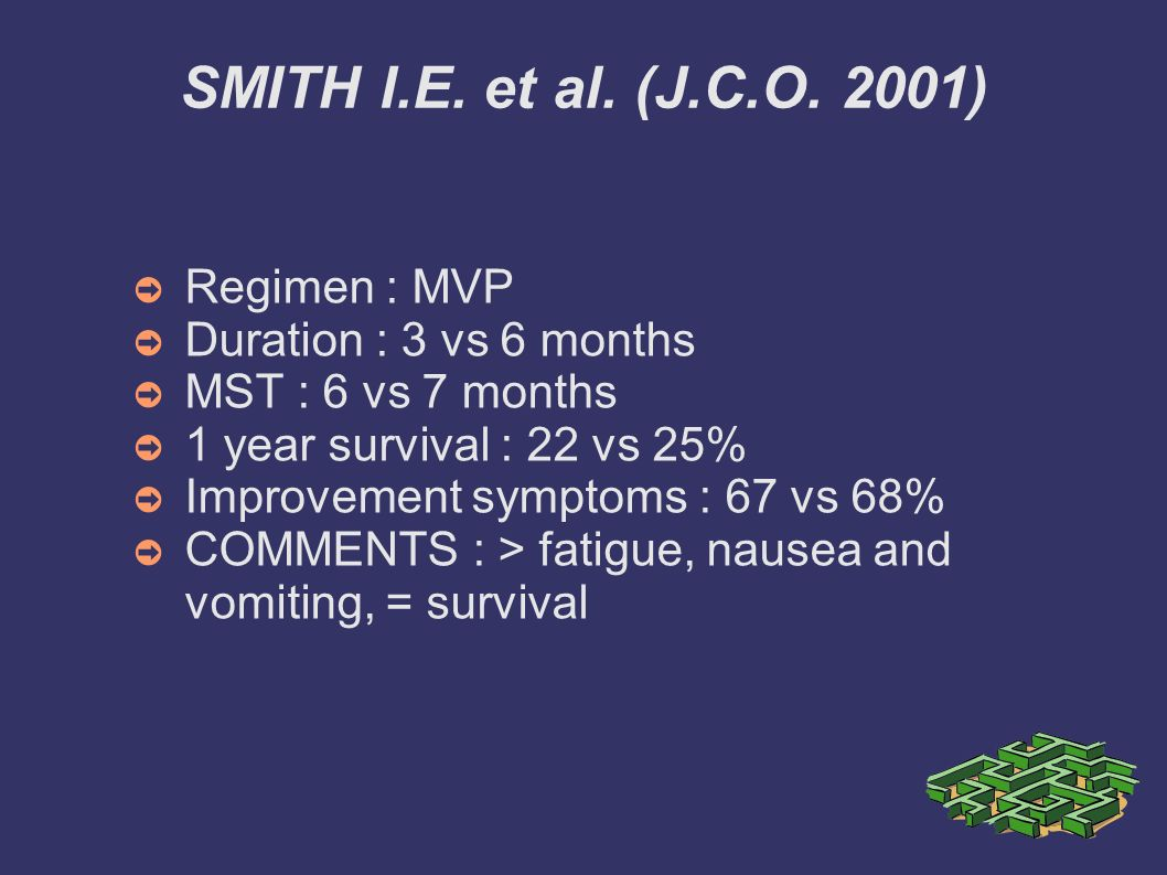 SMITH I.E. et al. (J.C.O. 2001) Regimen : MVP Duration : 3 vs 6 months