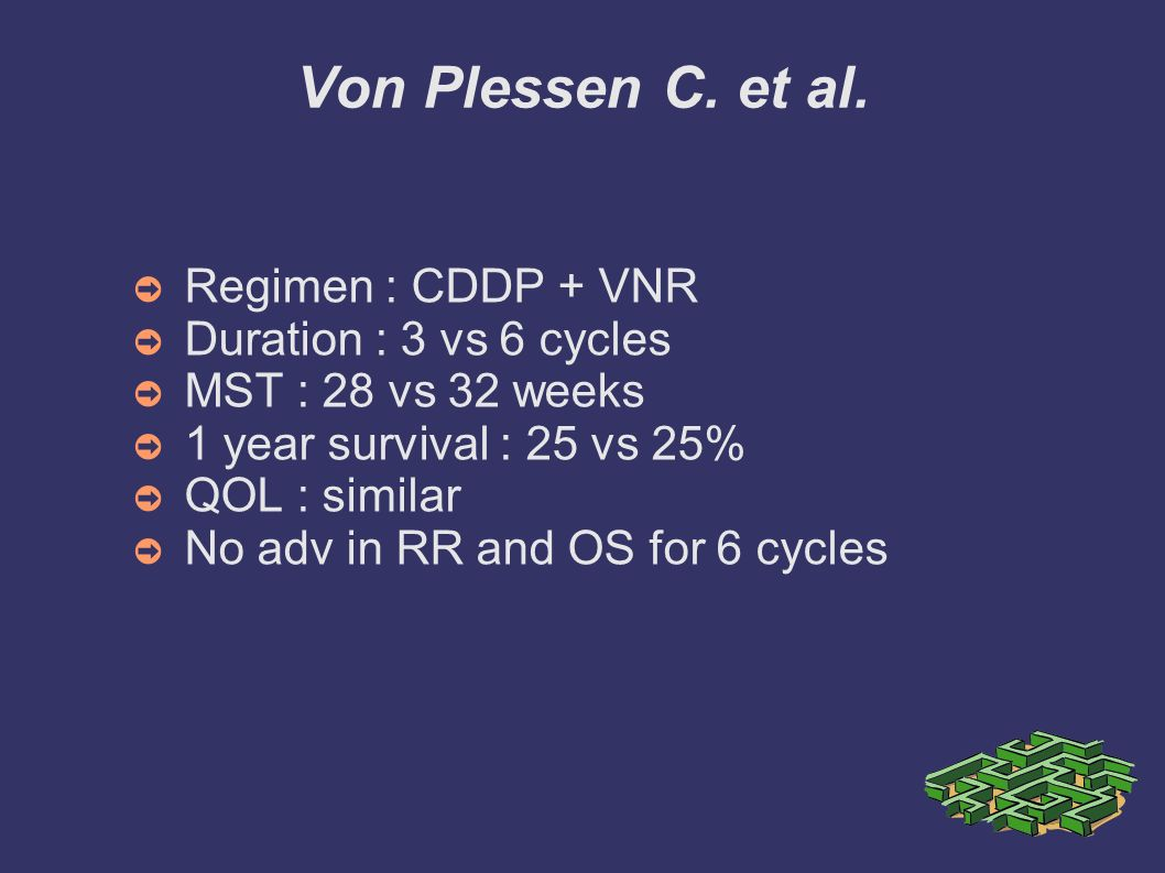 Von Plessen C. et al. Regimen : CDDP + VNR Duration : 3 vs 6 cycles