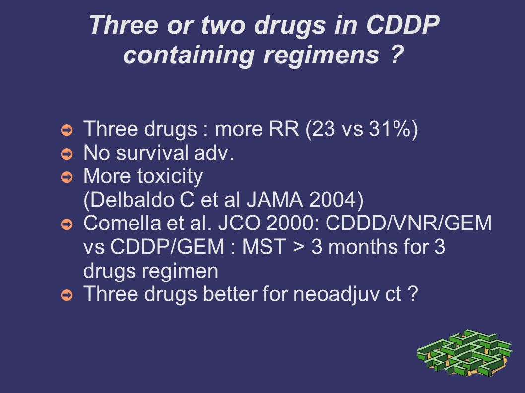 Three or two drugs in CDDP containing regimens
