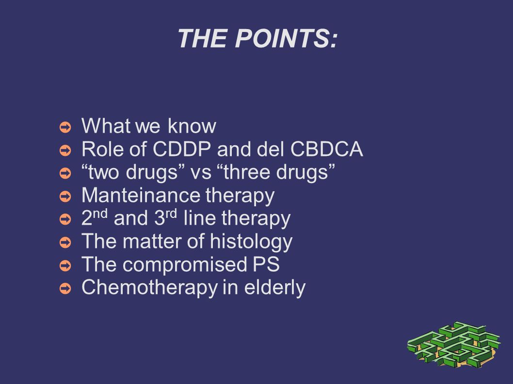 THE POINTS: What we know Role of CDDP and del CBDCA
