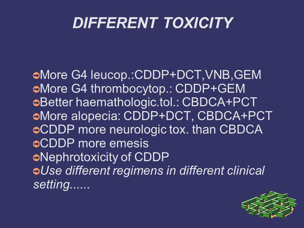 DIFFERENT TOXICITY More G4 leucop.:CDDP+DCT,VNB,GEM