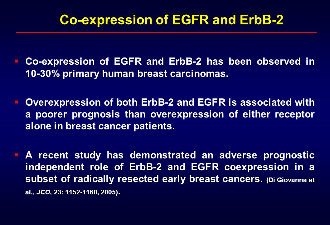 Co-expression of EGFR and ErbB-2