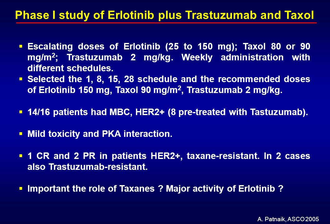 Phase I study of Erlotinib plus Trastuzumab and Taxol