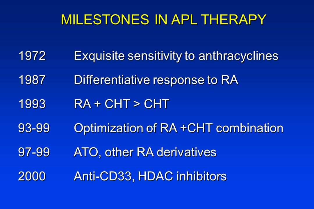 MILESTONES IN APL THERAPY