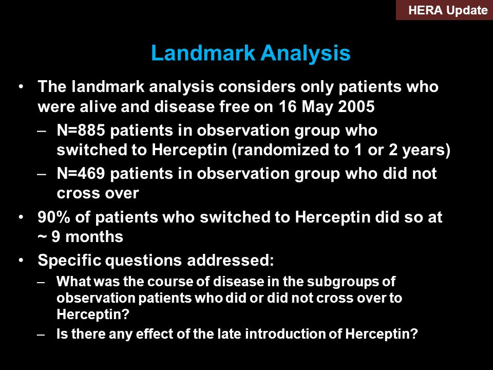 HERA Update Landmark Analysis. The landmark analysis considers only patients who were alive and disease free on 16 May