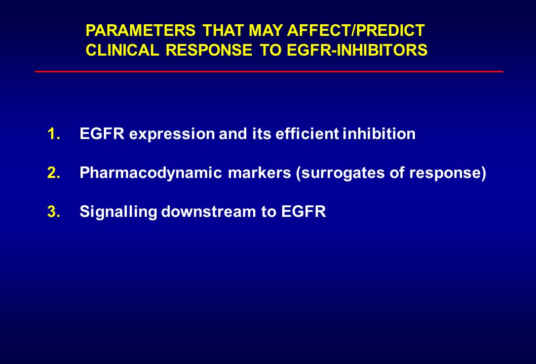 PARAMETERS THAT MAY AFFECT/PREDICT CLINICAL RESPONSE TO EGFR-INHIBITORS