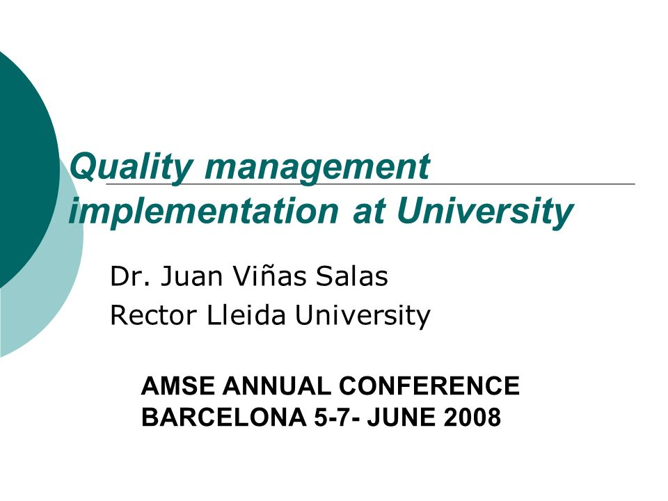 Quality management implementation at University