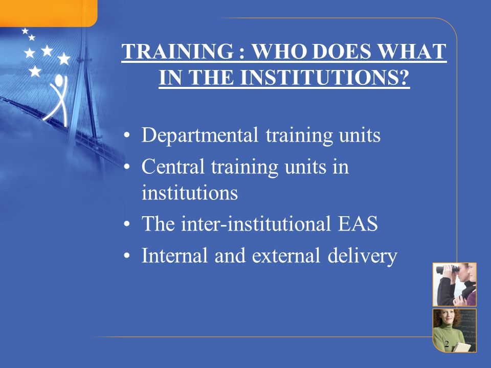 TRAINING : WHO DOES WHAT IN THE INSTITUTIONS