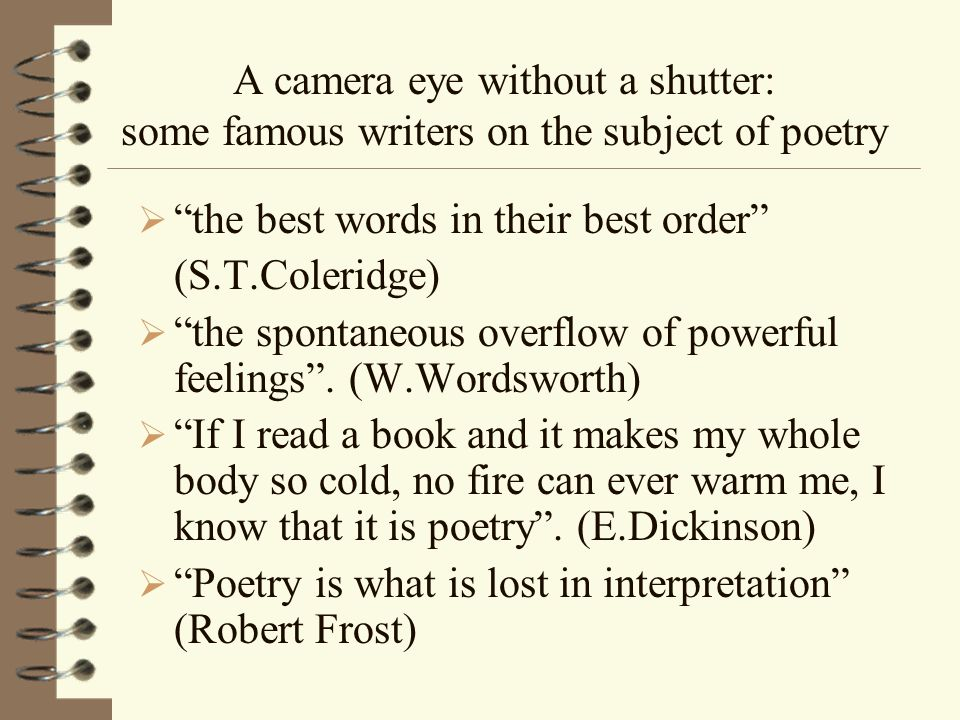 A camera eye without a shutter: some famous writers on the subject of poetry