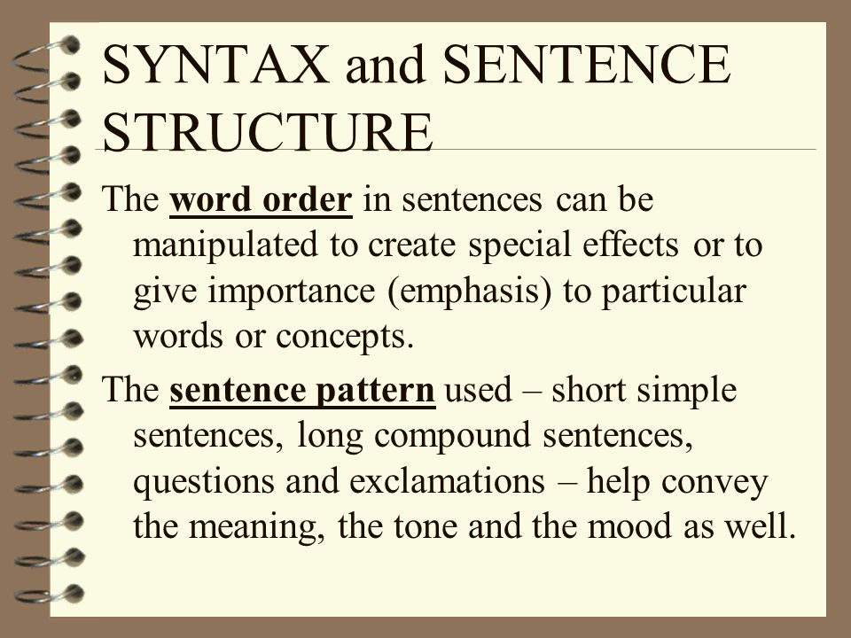 SYNTAX and SENTENCE STRUCTURE