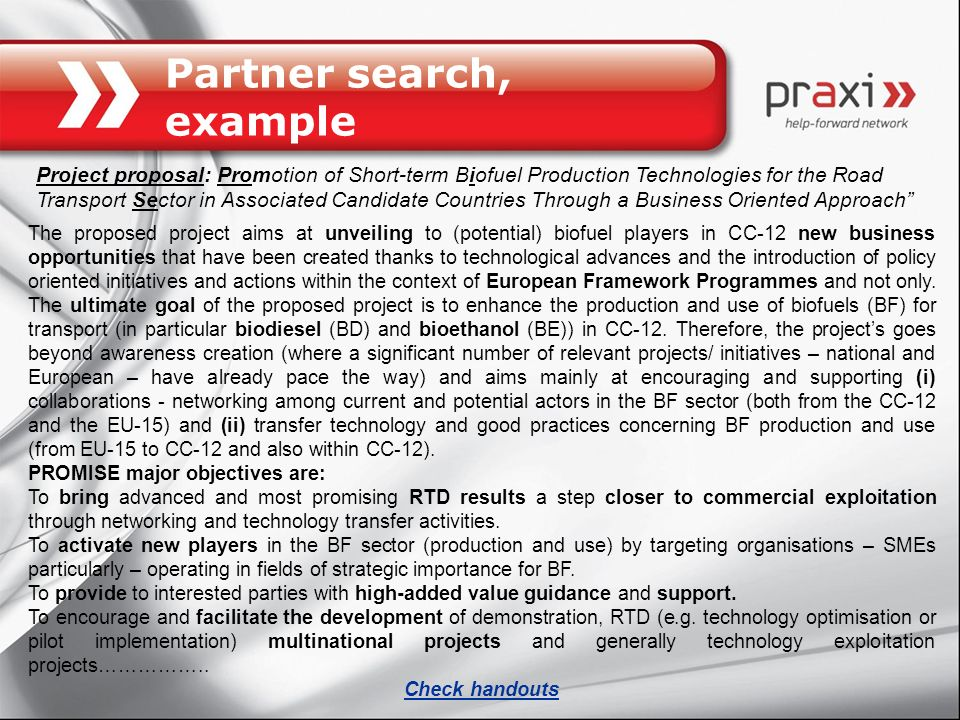 Partner search, example