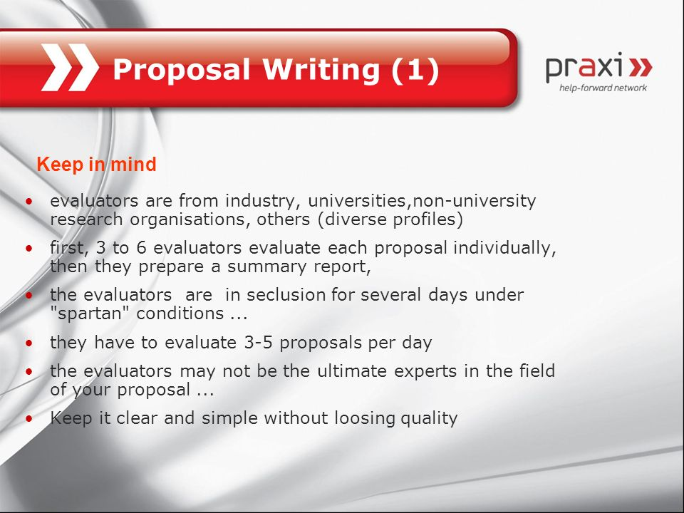 Proposal Writing (1) Keep in mind