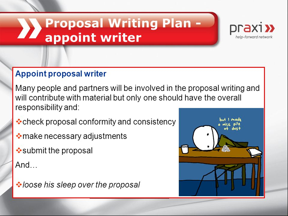 Proposal Writing Plan - appoint writer