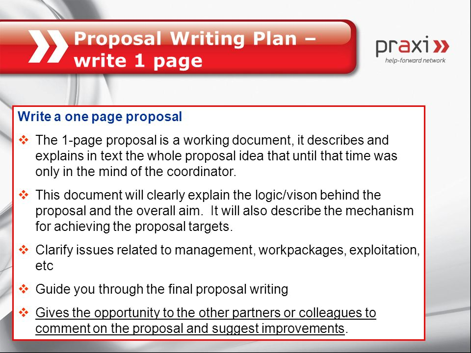 Proposal Writing Plan – write 1 page