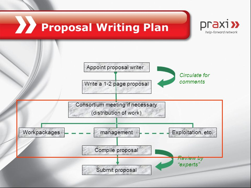 Proposal Writing Plan Appoint proposal writer Circulate for comments