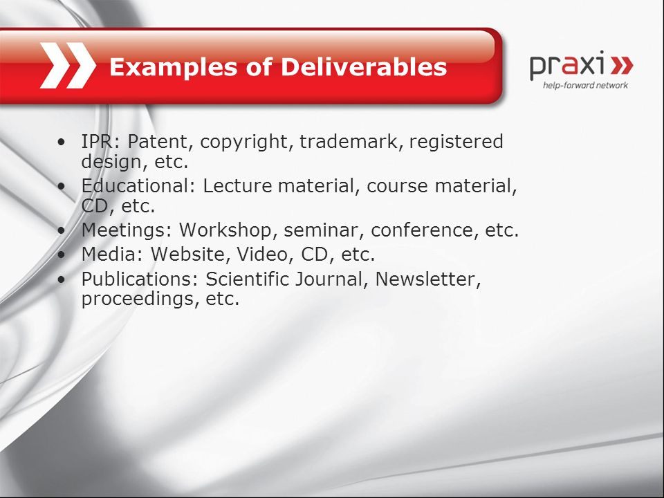 Examples of Deliverables