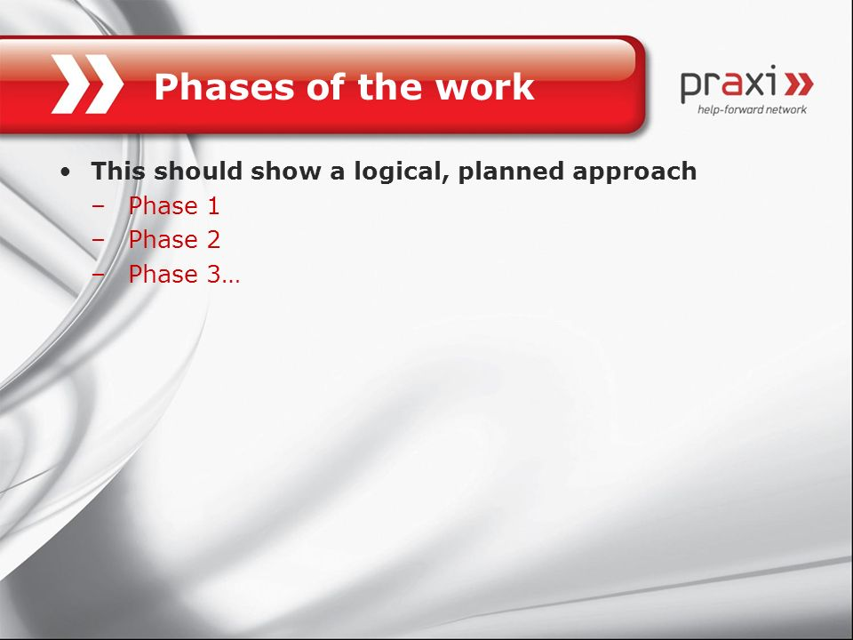 Phases of the work This should show a logical, planned approach