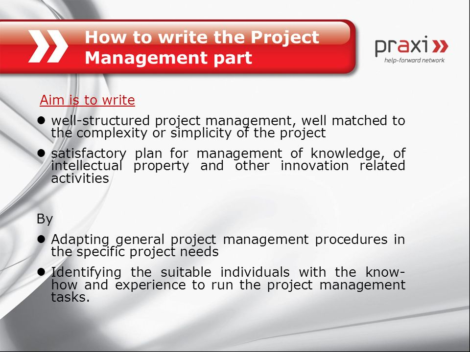 How to write the Project Management part