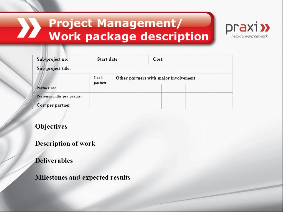 Project Management/ Work package description