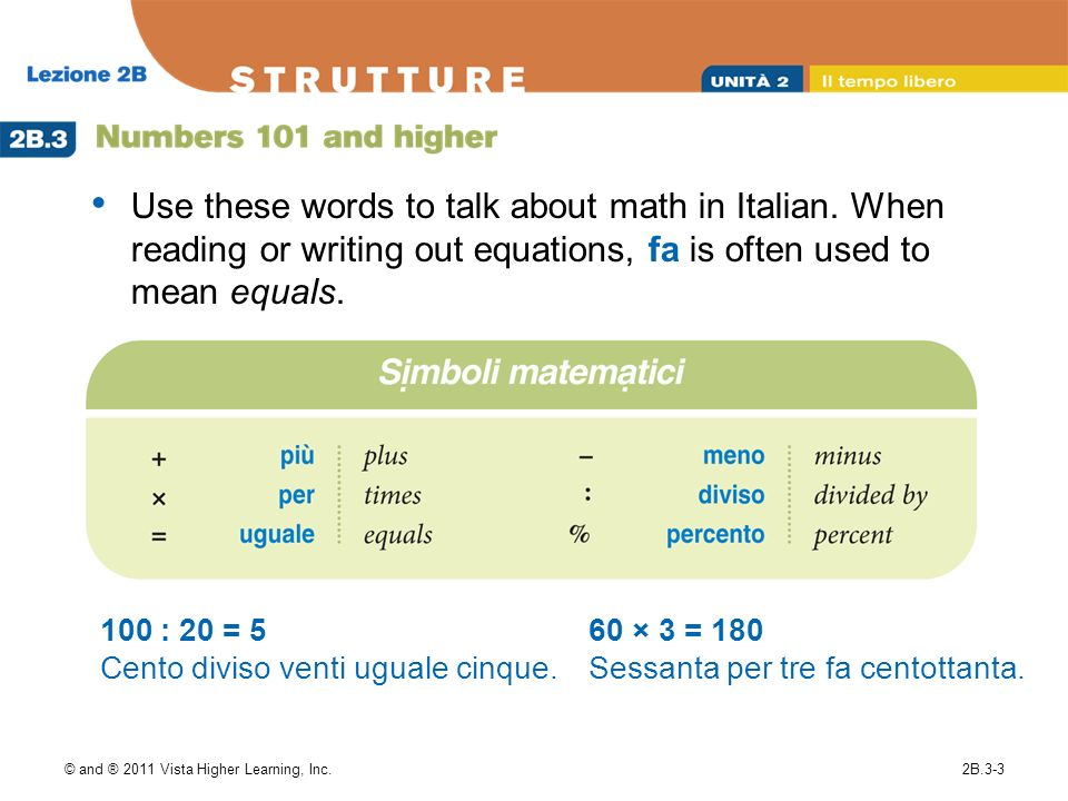 Use these words to talk about math in Italian