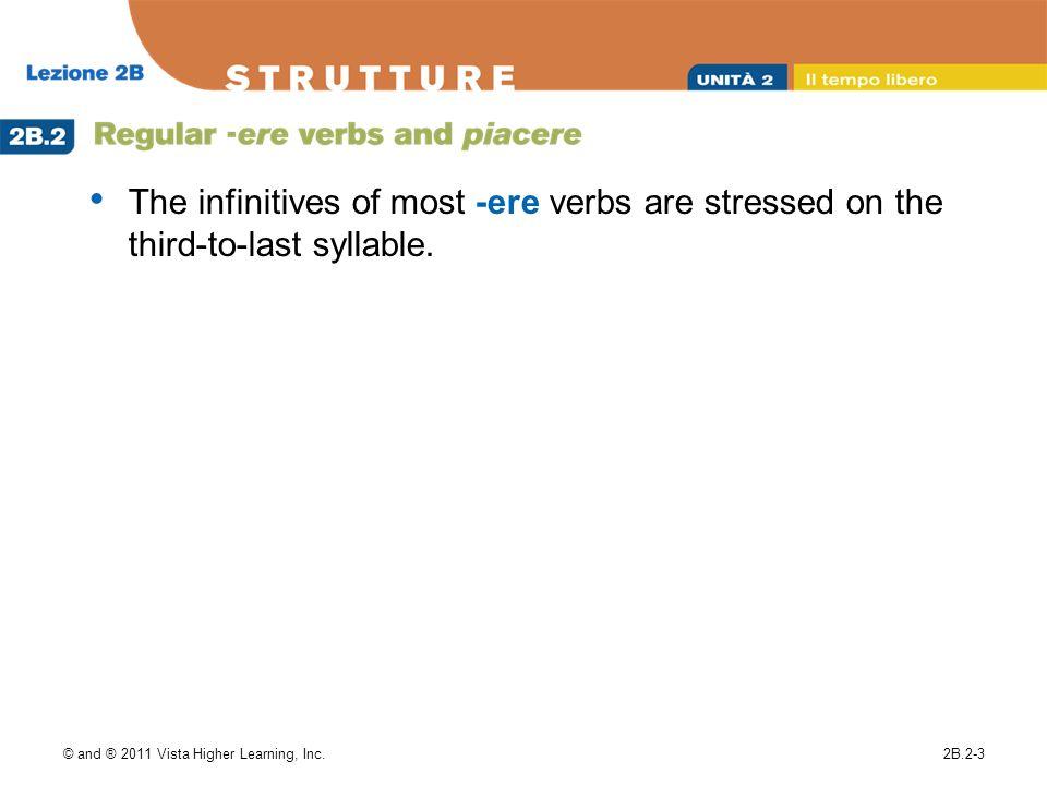 The infinitives of most -ere verbs are stressed on the third-to-last syllable.