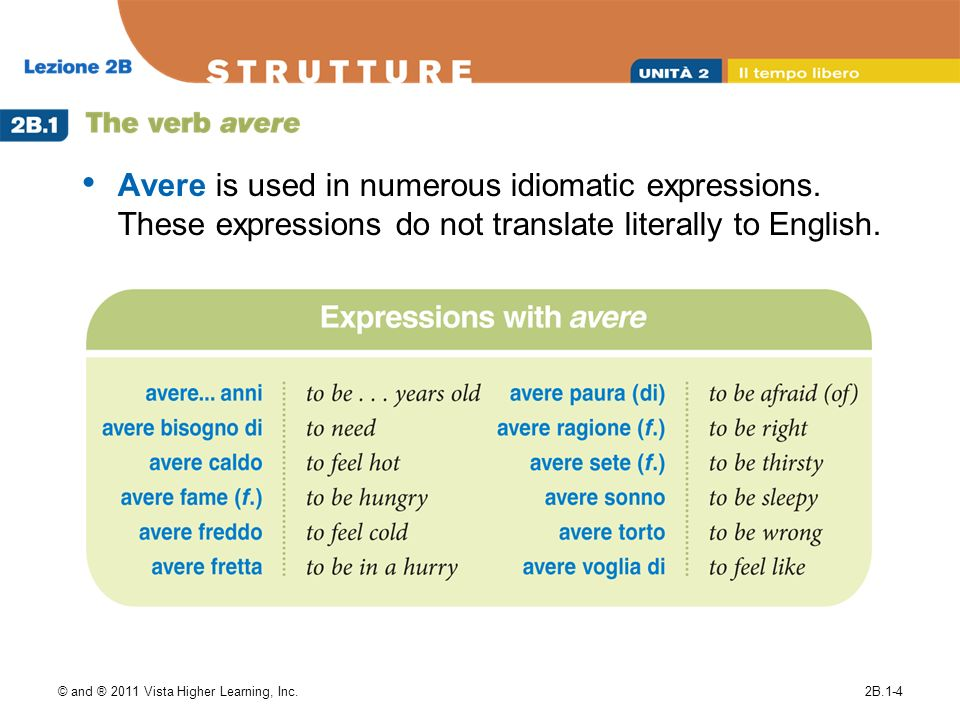 Avere is used in numerous idiomatic expressions