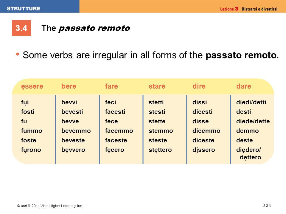 Some verbs are irregular in all forms of the passato remoto.